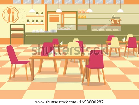 Modern Cafeteria Interior. Canteen with Chairs and Tables to Have Lunch Together. 80s Style Checkered Floor, Spoon and Fork Emblem on Wall. Spacious Eating Room, Affordable Place to Eat and Chat. Stock photo ©