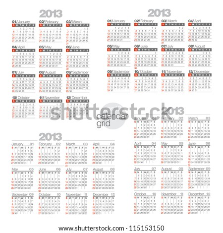 Modern calendars on white background. Two horizontal and two vertical calendar.
