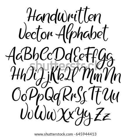 Modern calligraphy font. Handwritten brush letters. Uppercase, lowercase. Hand lettering alphabet for your design: wedding calligraphy, logo, slogan, window decor, postcard, greeting card