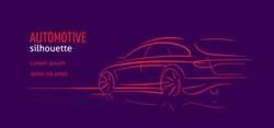 Modern car abstract line illustration. Auto silhouette outline on dark background. Vector. Text outlined.