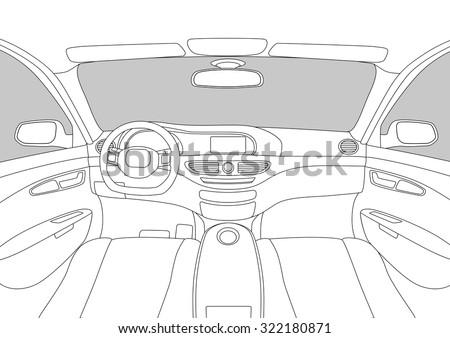 modern car cockpit  vector