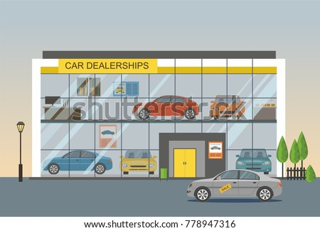Modern car dealership showroom and sale car
