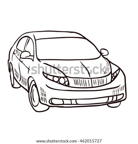 modern car hand drawn vector