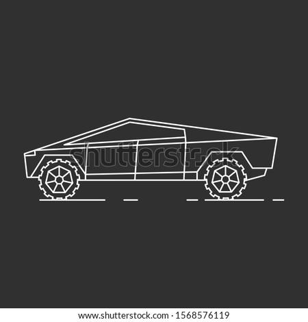 Modern car illustration. Outline style icon