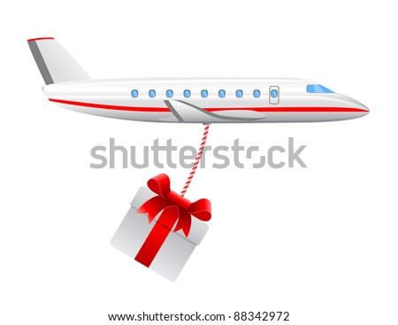modern cargo air plane with christmas present