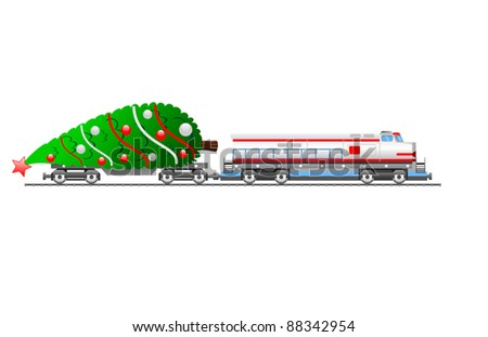 modern cargo train with decorated christmas tree on platform