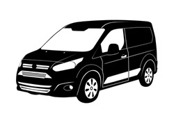 Modern cargo van silhouette. Small commercial van on a white background. Flat vector.