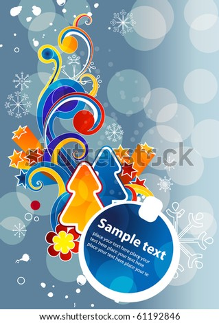 Modern cartoon blue christmas background with fir and abstract elements