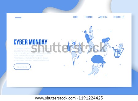Modern cartoon flat characters customers carry Cyber Monday sales purchases,landing page template web online shopping concept.Flat people satisfied happy buyers clients,good buys,ready to use buttons