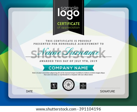 Modern certificate blue and green triangle shape background frame design template