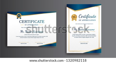 Modern certificate of achievement template, gold and blue color. Clean certificate with gold badge. Certificate template with luxury and modern line pattern. Diploma vector template
