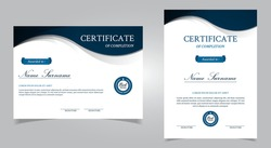 Modern certificate of achievement vector template. Diploma certificate EPS 10