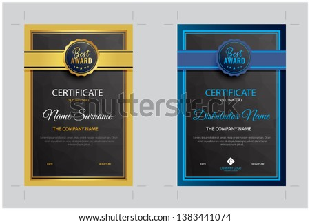 modern certificate of distributor and apprence