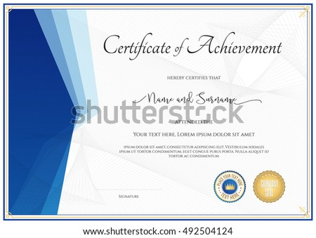 Modern certificate template for achievement, appreciation, participation or completion