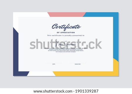 Modern certificate template memphis style. Use for print, certificate, diploma, graduation