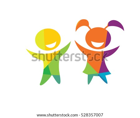 Shutterstock Modern Children Education Logo - Happy Kids Education