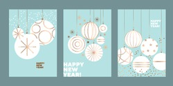 Modern Christmas baubles. Festive middle century atomic vibes design element for web banners, posters, cards, wallpapers, backdrops, panels.