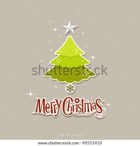 Modern christmas green tree design illustration