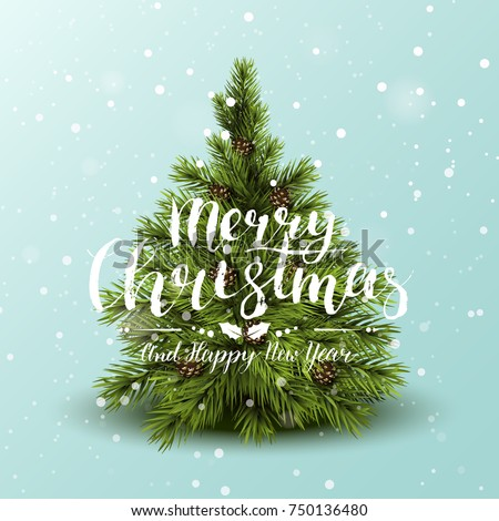 Modern Christmas greeting card with tree and brush lettering