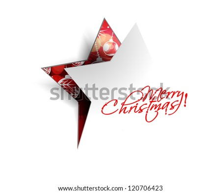 Modern christmas star peel off design, eps10 vector illustration