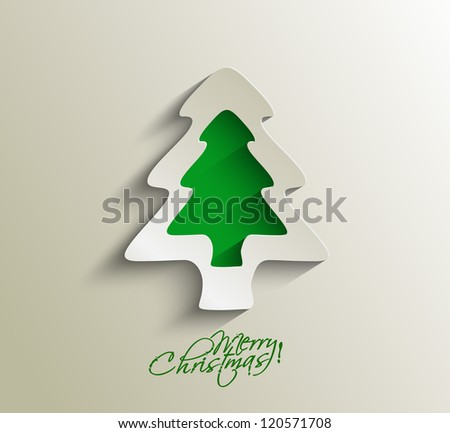 Modern christmas tree curl paper illustration design,