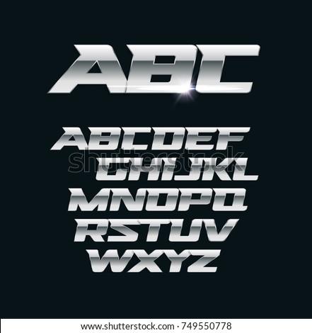 Modern chrome vector font. Metallic letters, polished steel style symbols. Aluminium bold geometric alphabet.