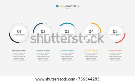 Modern circles vector infographic template. Business concept with 5 steps, options or processes.