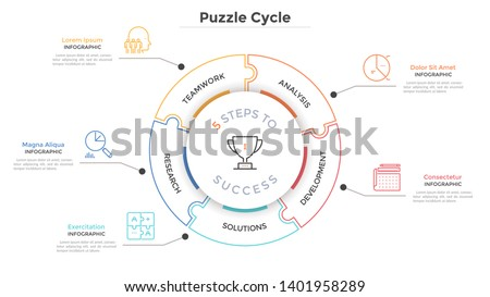 Modern circular diagram divided into 5 jigsaw puzzle pieces. Concept of five steps to business success. Linear infographic design template. Minimal vector illustration for presentation, brochure. Сток-фото ©
