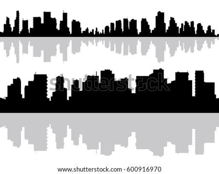 modern city buildings silhouette