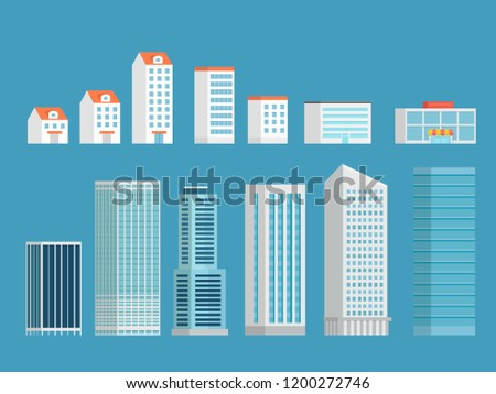 Modern city buildings vector clipart. Isometric buildings set