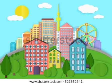 modern city cardboard landscape