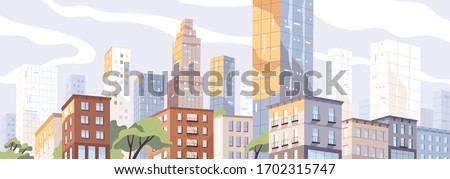 Modern city center with scyscrappers and residential houses. Colorful panoramic downtown view. Megalopolis cityscape. Metropolis skyline. Urban scenery. Vector illustration in flat style