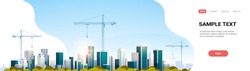 modern city construction site tower cranes building residential buildings cityscape sunset skyline background flat horizontal banner copy space