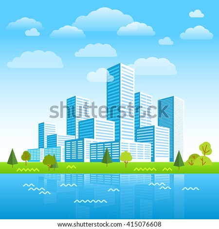 modern city district buildings