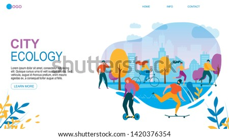 Modern City Ecology. Cartoon People with Eco Friendly Transport Vehicle Vector Illustration. Man and Woman Activity. Cycling Run Jogging. Ride Scooter Skateboard. Walk, Sport Training