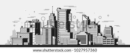 Modern city illustration. Towers and buildings in black and white contour style on white background