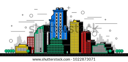 Modern city illustration. Towers and buildings in colored outline style on white background
