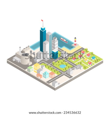 modern city isometric vector