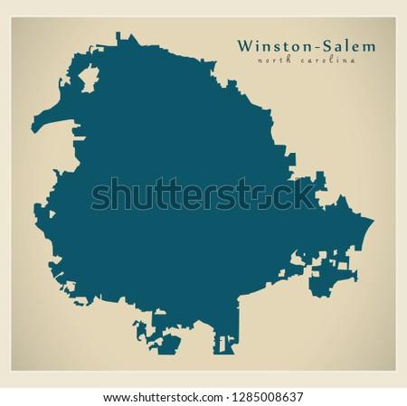 Modern City Map - Winston-Salem North Carolina city of the USA