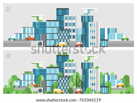 modern city of concrete glass