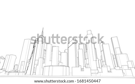 modern city panorama 3d