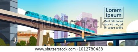 Modern City Panorama With High Skyscrapers And Subway Cityscape Template Background Horizontal Banner Flat Vector Illustration
