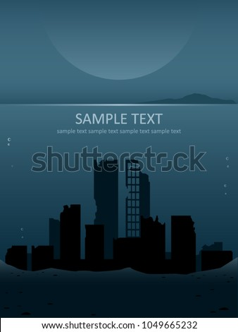 modern city ruins submerged