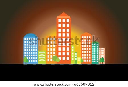 modern city skyline against the