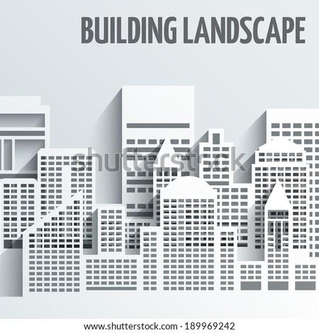 Modern city skyline building industrial paper landscape skyscraper offices vector illustration