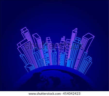 modern city skyline globe neon