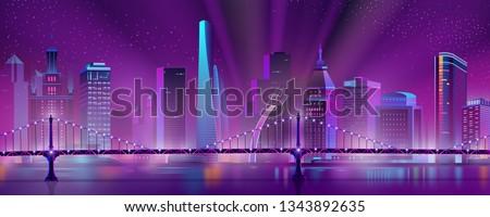 modern city skyline neon color
