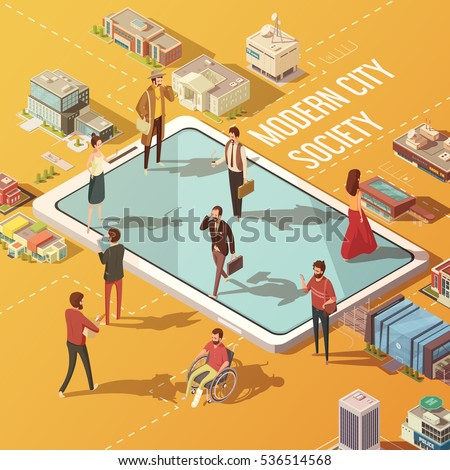 Modern city society concept with people communicating via internet isometric vector illustration