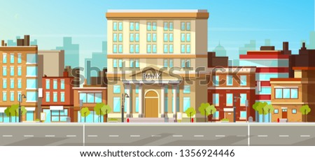 Modern city, town street flat vector with low-rise houses, commercial, public buildings in various architecture styles, sidewalk with city lights and road illustration. Metropolis outskirt background