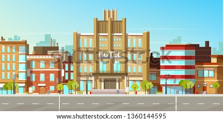 Modern city, town street flat vector with low-rise houses, commercial, public buildings in various architecture styles, sidewalk with city lights and road illustration. Metropolis outskirt background #1360144595